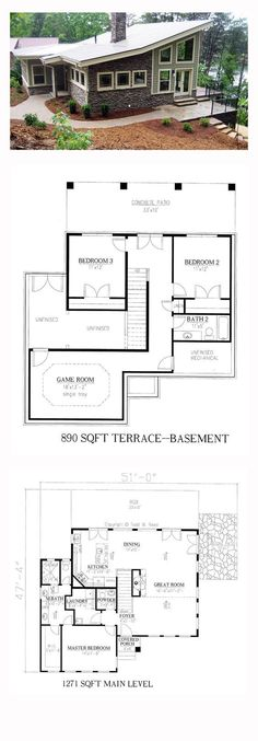 Modern House Plan 50258   Total Living Area: 2161 sq. ft., 3 bedrooms and 2.5 bathrooms. #modernhome
