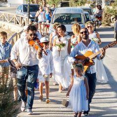 Greek wedding style with live music escort. Destination wedding in Naxos Greek Wedding, Live Music, Wedding Styles, Real Weddings, Greece, Destination Wedding, Island, Block Island, Grecian Wedding