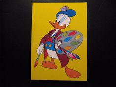 Vintage Walt Disney Postcard...Donald Duck...as Picasso!