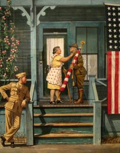 """Two Generations Of Vets - Fourth Of July Parade"" . by Norman Rockwell Norman Rockwell Art, Norman Rockwell Paintings, Illustrations, Illustration Art, Retro, Munier, Old Glory, American Artists, American History"