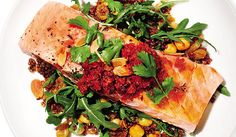 Slimming Superfood Recipe: Salmon, Red Quinoa and Arugula Salad | Celeb Chef Marc Murphy proves salads aren't all wimpy. #SELFmagazine