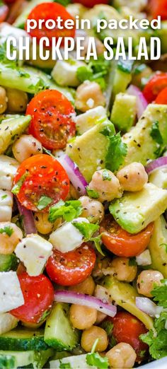 Chickpea Salad Recipe Chickpea Salad is protein packed and so fresh and healthy! Chickpeas (aka Garbanzo bean salad) is so good for you and the Greek flavors are so vibrant and fresh. It keeps you feeling full and satisfied for hours. Chickpea Salad Recipes, Fruit Salad Recipes, Vegetarian Recipes, Cooking Recipes, Healthy Recipes, Garbanzo Bean Recipes, Vegetarian Appetizers, Delicious Salad Recipes, Quinoa Chickpea Salad