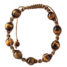 Insight Handmade Tiger's Eye Shamballa Macrame Bracelet Novica India