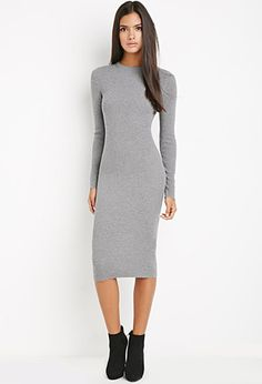 A ribbed knit bodycon dress featuring an open-shoulder design ...