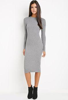 Midi Bodycon Sweater Dress   LOVE21   #f21contemporary
