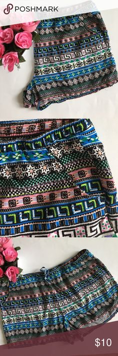 "Boho short shorts Like new! Waste to hem is 11.5 inches. Side pockets. Elastic waist with drawstring tie. Super breezy and cute! Waist 36"" to 40"". 26"" leg opening.  100% rayon no boubdaries Shorts"
