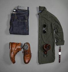 Camisa verde  Jeans azul Boots Cap Toe
