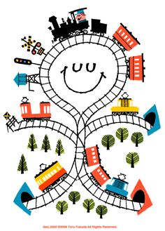 illustrated by Toru Fukuda Art Wall Kids, Art For Kids, Wall Art, Zug Illustration, Train Posters, Train Art, My Art Studio, Kids Prints, Painting For Kids