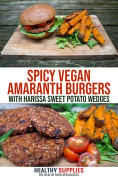 Recipe: Spicy Amaranth Burgers with Harissa Sweet Potato Wedges. at Healthy Supplies! We'll be sharing our favourite vegan recipes with you all January. Raw Food Recipes, Vegetarian Recipes, Cooking Recipes, Healthy Recipes, Alkaline Recipes, Vegan Vegetarian, Cake Recipes, Healthy Dishes, Vegan Dishes