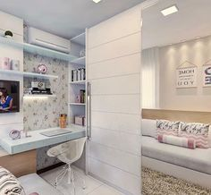 Perfect Idea Room Decoration Get it Know Girl Bedroom Designs, Room Ideas Bedroom, Small Room Bedroom, Home Bedroom, Bedroom Decor, Bedrooms, Dream Rooms, Dream Bedroom, Home Room Design