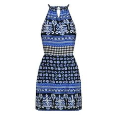 Yoins Totem Print Cut Out Self-Tie Mini Dress ($14) ❤ liked on Polyvore featuring dresses, blue, short dresses, no sleeve dress, cut out dress, blue cut out dress and sleeveless dress