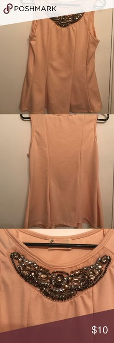 Gorgeous peach top Gorgeous top with statement neckline. Very gently used only worn once. Tops Tank Tops