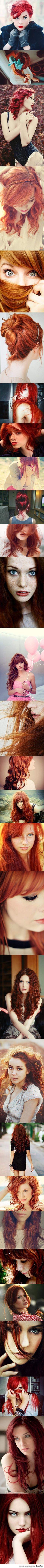 Kampausmalleja, rakastan punaisia hiuksia :)