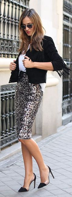 Sequin Skirt Fall Inspo by LadyAddict