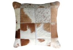 Torino Patchwork 15x15 Pillow, Tan/White on OneKingsLane.com  Hair on Cow!!