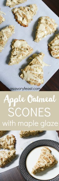 Apple Oatmeal Scones with Maple Glaze // Fall means hot cups of coffee paired with delicious treats! Apple is a must this time of year. These scones combine fresh apples and oats with a sweet maple glaze. You won't believe how easy they are to make!  See more http://recipesheaven.com/paleo