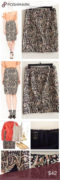"""J.Crew Feathered Paisley Pencil Skirt Classic, slim """"No.2 Pencil Skirt"""" from J. Crew  in a vintage-look feathered paisley print. Fully lined, back vent, zip and hook closure. Navy, coral, cream& brown colors.  EUC, no notable flaws Sz 2 Length- 22""""  Waist- 14""""  Reasonable offers considered  ❌no offsite transactions/trades J. Crew Skirts Pencil"""