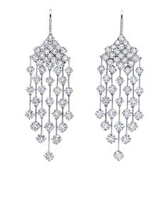 Diamond Rain Earrings in 18K white gold by Martin Katz