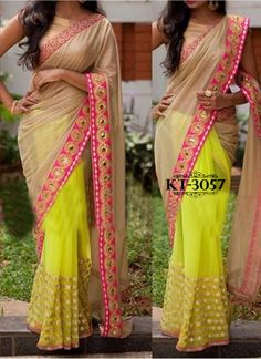 Beige lycra silk and yellow net half n half sari Highlighted with intricate zari thread work and mirror work Comes with a matching semi stitched blouse Simple Saree Designs, Simple Sarees, Saree Blouse Designs, Silk Sarees Online Shopping, Designer Silk Sarees, Indian Sarees Online, Stylish Sarees, Bridal Lehenga, Saree Wedding