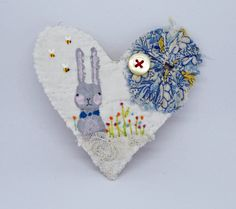 BROOCH Textile heart shaped.  Vintage patchwork with hand embroidered flowers, hand painted Bunny by hensteeth on Etsy