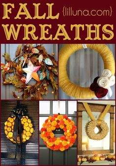 Fall Wreaths! Ideas and tutorials for some gorgeous wreaths to have during the fall season!! { lilluna.com }
