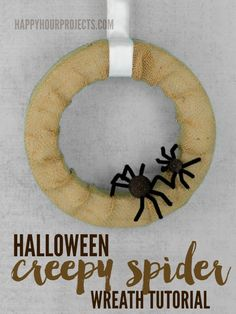 Spider Halloween Wreath Tutorial at www.happyhourprojects.com #MakeItFunCrafts…