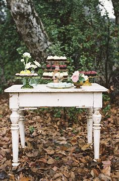 Fun dessert table in the eclectic boho Bridal Lunch from Sterling Social with Found Vintage Rentals shot by Braedon Flynn