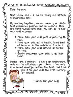 FCAT letter to parents! Love this!!!