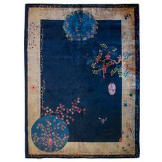 "Chinese Art Deco Carpet, 8'10"" x 11'7"" Shanghai, China c. 1920's A very early Chinese Art Deco carpet with wonderful Peking stylistic qualities and geometric Deco designs."