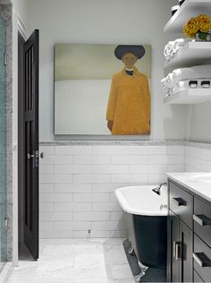White Subway Tile Bathroom Design, Pictures, Remodel, Decor and Ideas - page 6 Basement Bathroom, Small Bathroom, Master Bathroom, Bathroom Ideas, Bathroom Storage, Bathroom Artwork, Bathroom Wallpaper, Bathroom Inspo, Bathroom Layout