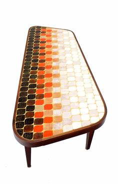 Mid Century Modern Organic Shape Coffee Table w/ Tile Mosaic Top image 7