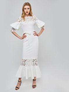 Off Shoulder Lantern Sleeve White Maxi Boho Dresses Maxi Dress With Sleeves, Half Sleeves, Lace Skirt, Maxi Dresses, White Maxi, Active Wear For Women, Sleeve Styles, Lanterns, Boho