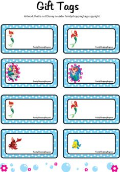 Gift Tags, Little Mermaid, Gift Tags - Free Printable Ideas from Family…