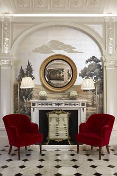 The stunning silver leafed wall at The Goring Hotel in London.