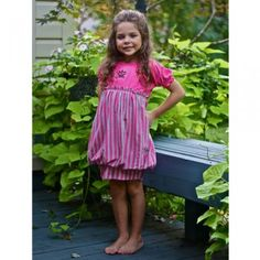 KidCuteTure Raspberry Silver Striped Bubble Dress Little Girls 2T-8