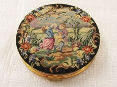 Vintage Gold Tone with Victorian Tapestry Cover Powder Compact | eBay