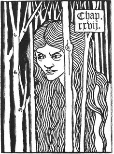 Figure with long hair [design for chapter heading] Aubrey Beardsley, 1872-1898 1893-94 Photo-reproduction of pen-and-ink drawing From Le Morte d'Arthur