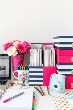 Pretty desk inspiration for at home offices and creative workspaces