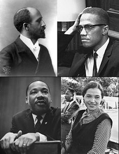 Prominent figures of the African-American Civil Rights Movement. Clockwise from top left: W. E. B. Du Bois, Malcolm X, Rosa Parks, Martin Luther King, Jr.