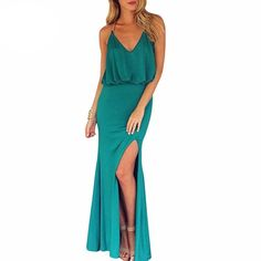 2016 Maxi Gold Chain Halter Side Split Dress with T Back Sexy Dresses Party Night Club