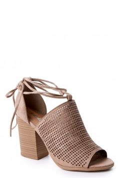 2 Most Wanted Light Taupe Lace Up Heels at reddressboutique.com