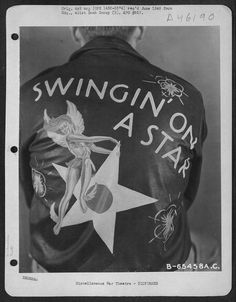 Satan's Chillen & Screamin' Demons: Awesome personalized World War II leather bomber jackets Leather Flight Jacket, Flight Bomber Jacket, Bomber Jackets, Leather Jackets, Aviator Jackets, Painted Leather Jacket, Vintage Leather Jacket, Nose Art, Air Force Bomber