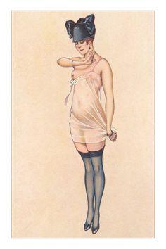 Woman in Sheer Slip with Black Stockings Premium Poster