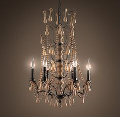 The Elegant Wooden Chandelier : Very Good Wood Crystal Chandelier. Wooden Chandelier, Chandelier Lighting, Chandeliers, Restoration Hardware, Baroque, Rococo, Decoration, Ceiling Lights, Crystals