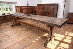 Late Gothic framed trestle table from a monastery circa 1450 - Marhamchurch antiques Medieval Furniture, Gothic Furniture, Country Furniture, Table Furniture, Antique Furniture, Outdoor Furniture, Outdoor Decor, Trestle Table, Dining Table