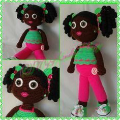 Crochet Doll; African American girl with curly ponytails, beaded bows and neon crochet sneakers!