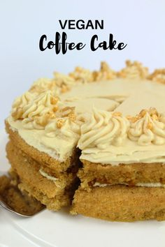Vegan coffee cake recipe with delicious, dairy-free coffee buttercream.This easy cake is perfect for fall with a cosy cuppa! Vegan coffee cake recipe with delicious, dairy-free coffee buttercream.This easy cake is perfect for fall with a cosy cuppa! Vegan Dessert Recipes, Easy Cake Recipes, Whole Food Recipes, Best Vegan Cake Recipe, Vegan Coffee Cakes, Almond Cakes, Vegan Treats, Vegan Food, Coffee Buttercream
