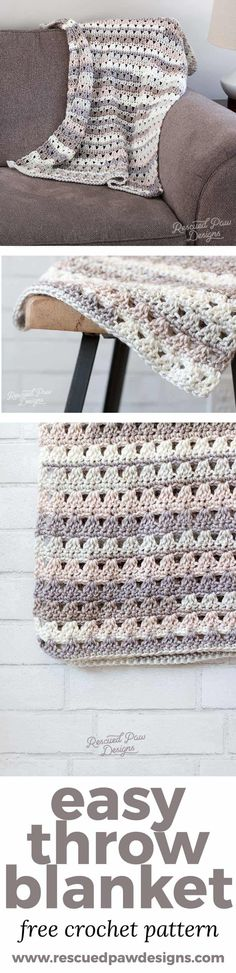 Alissa Easy Crochet Throw Blanket This easy crochet throw is the perfect throw to work up on a weekend crochet marathon. This design involves repeats along with some simple stitches to make for an easy quick and easy crochet throw! Crochet Afghans, Motifs Afghans, Quick Crochet Blanket, Afghan Crochet Patterns, Crochet Baby, Knitting Patterns, Knit Crochet, Crochet Blankets, Crotchet