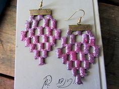 Statement  earrings Tribal geometric modern lace by Lilyja on Etsy, $18.00