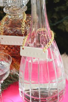 Clay Liquor Bottle Labels | A Fabulous Fete What a fun way to label decorative bottles. Of course, if you don't drink then you could m...